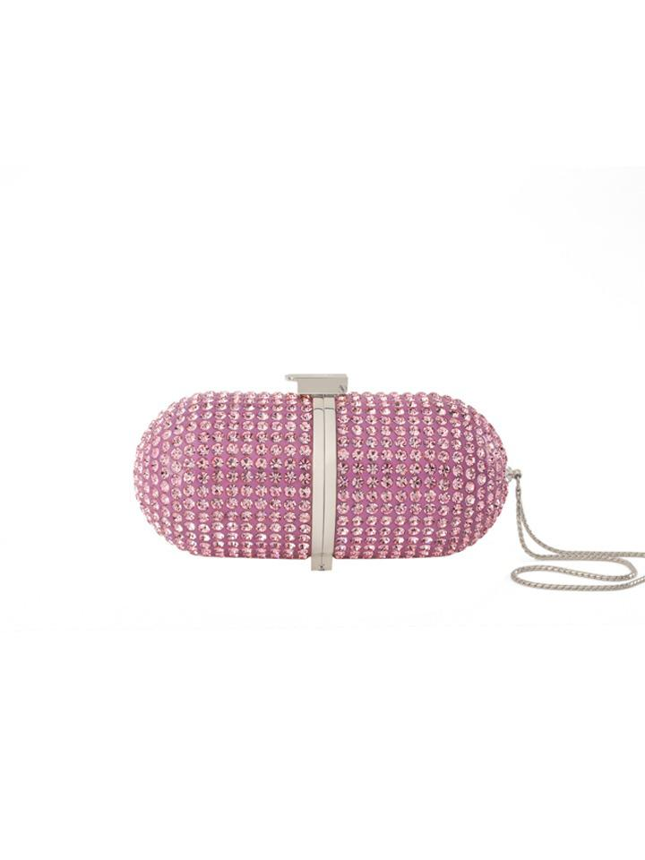 Pill Crystal Pink -Silver Hardware