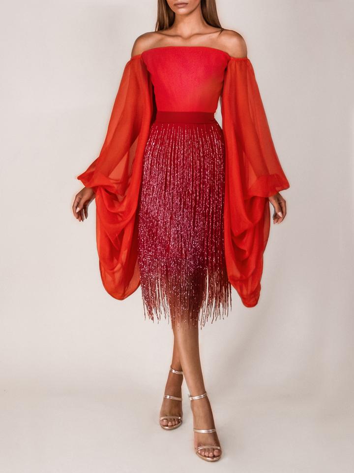 Corset Draped Sleeves / Fringe Skirt